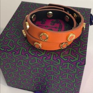 Tory Burch Double Wrap Orange Leather Bracelet
